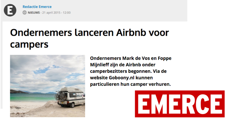 Goboony in de media Emerce AirBnb camper