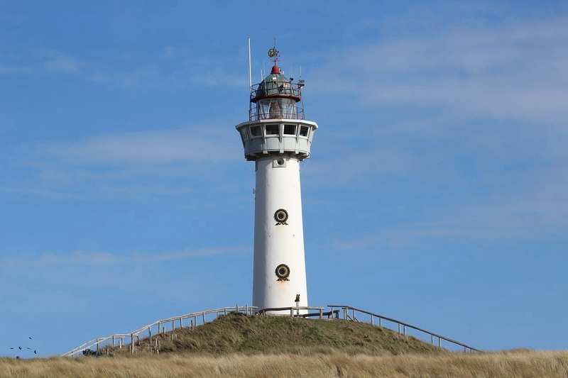 """A lighthouse at one of the """"at sea"""" towns."""