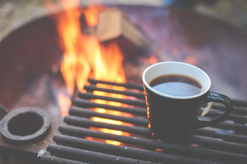 Goboony camping gadgets coffee at campfire