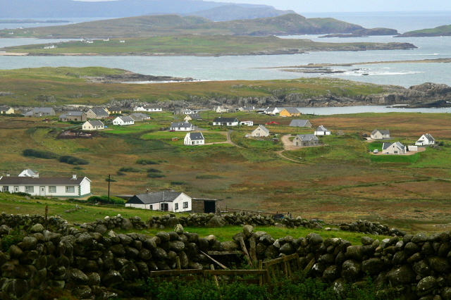 Goboony Ireland homes hillside Gweedore Bay