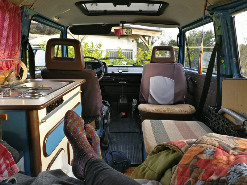 Goboony festival camper can hire interior comfort socks