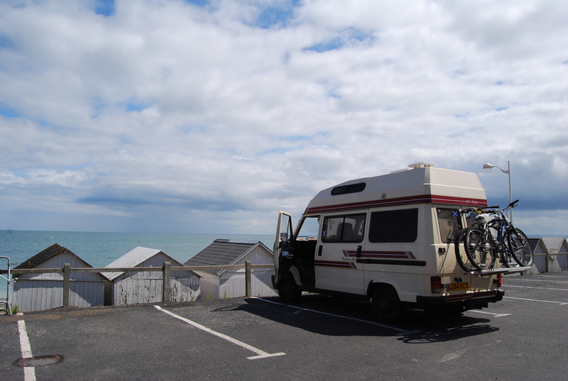 Driving in France seaside campervan parked