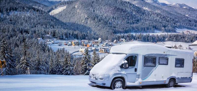 Goboony Winter Camping H2 Motorhome Snow Trees Ice