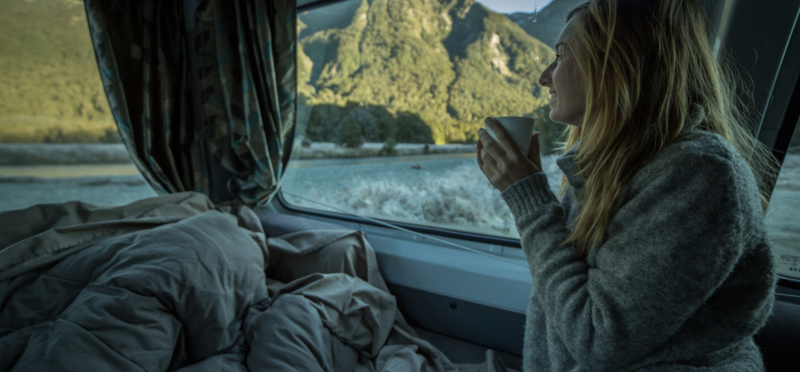 Goboony Winter Camping H2 Motorhome Woman Coffee