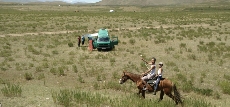 Goboony Central Asia Road Trip Campervan H2 Horse Man Field