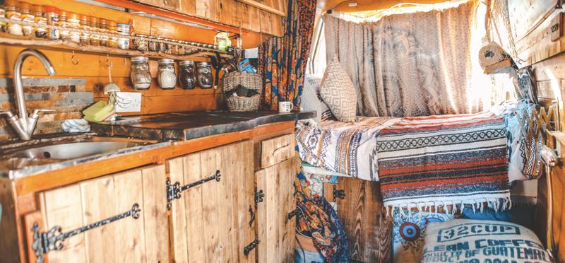 Goboony Living Van Campervan Motorhome H2 Interior Fairylights Kitchen