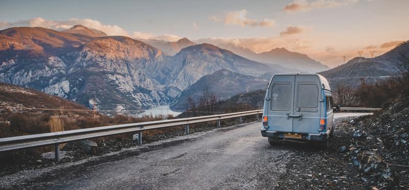 Goboony Living Van Campervan Motorhome H2 Mountains Sky Driving Road