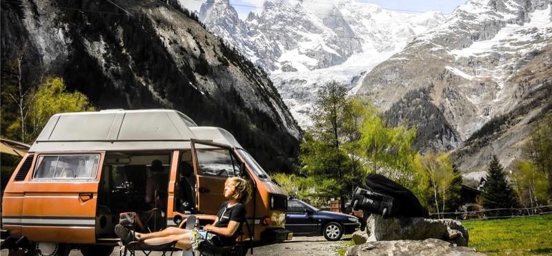 Goboony met de camper Oostenrijk berg