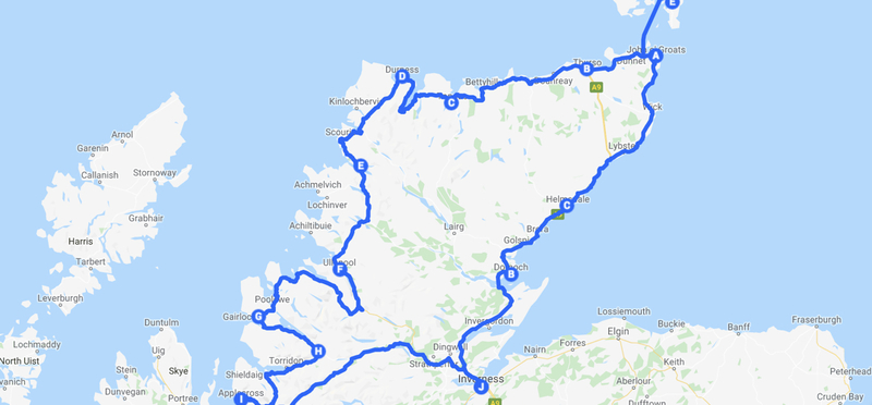 Goboony North Coast 500 Scotland Route Road Trip H2 Map Guide