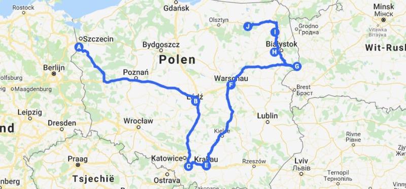 Goboony met de camper naar Polen MyMaps