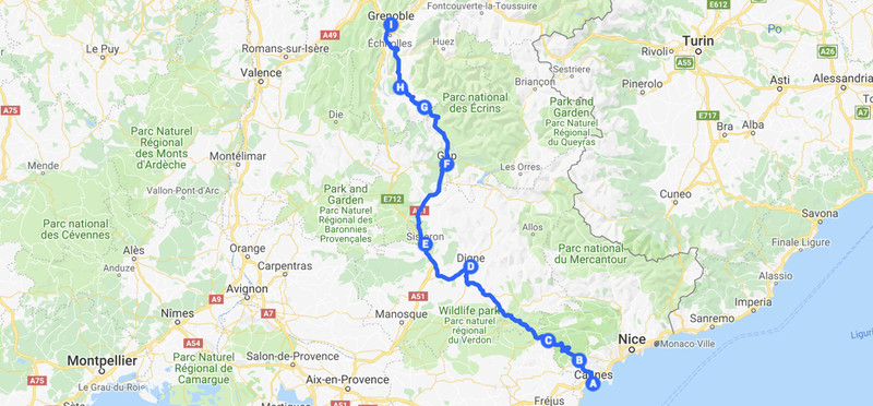 Goboony Road Trip France Napoleon H2 Route