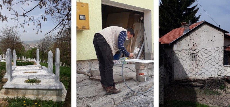 Goboony Guus en Sandra Bosnië graf - meubelmaker - kogelgaten