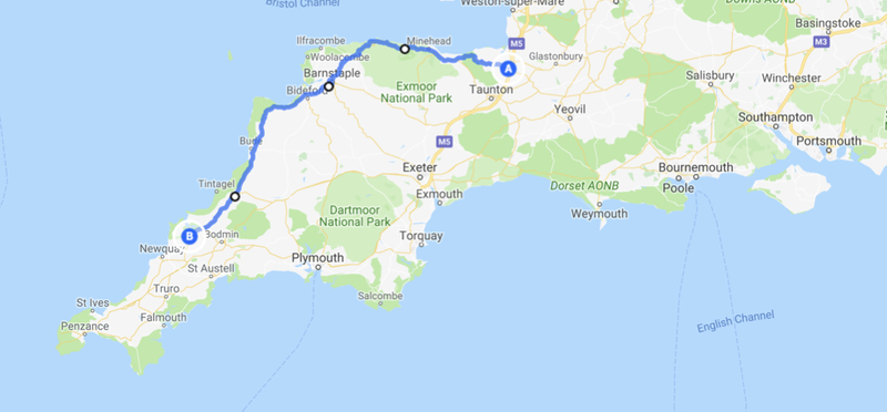 Goboony Route Atlantic Highway Cornwall Devon H2 Map