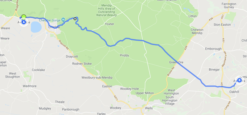 Goboony Map Route Cheddar Gorge H2 Road Trip