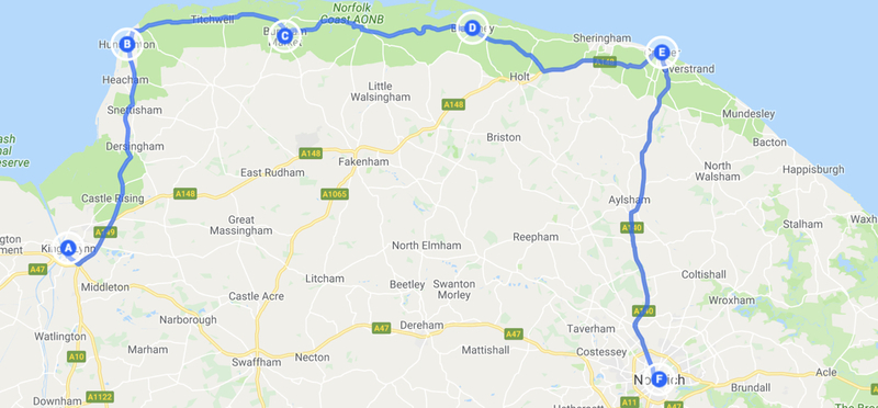 Goboony Route Map Road Trip H2 Norfolk Norwich