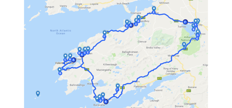 Goboony Ring of Kerry Road Trip Ireland Route Map