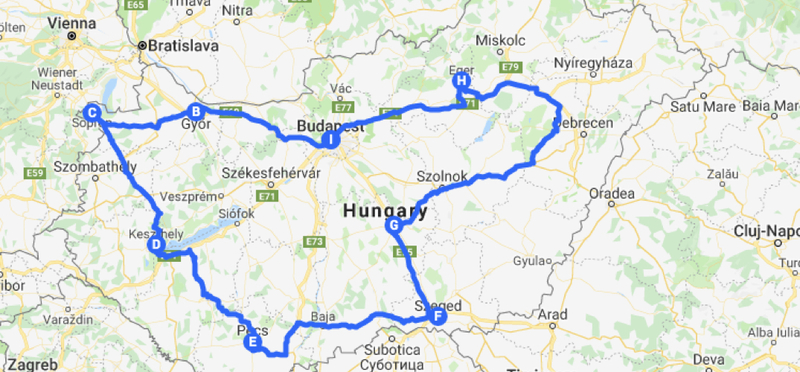 Goboony Road Trip Hungary H2 Budapest Map Rpote