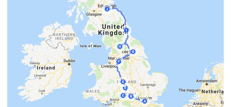 Goboony Itinerary Road Trip London Edinburgh UK H2 Map