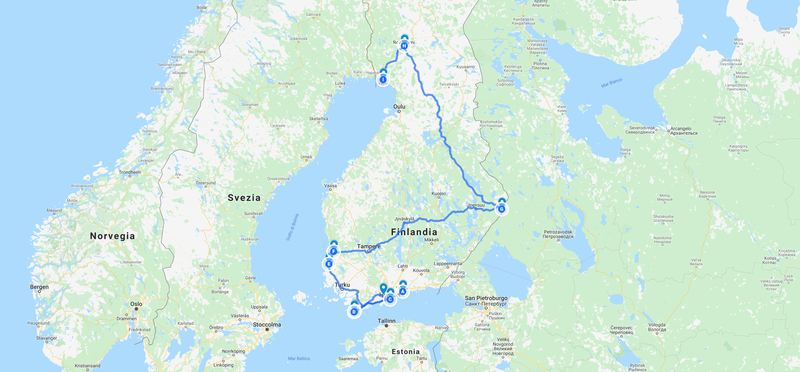goboony mappa finlandia tour in camper