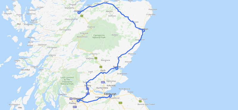 Goboony Inverness Edinburgh road trip H2 itinerary route