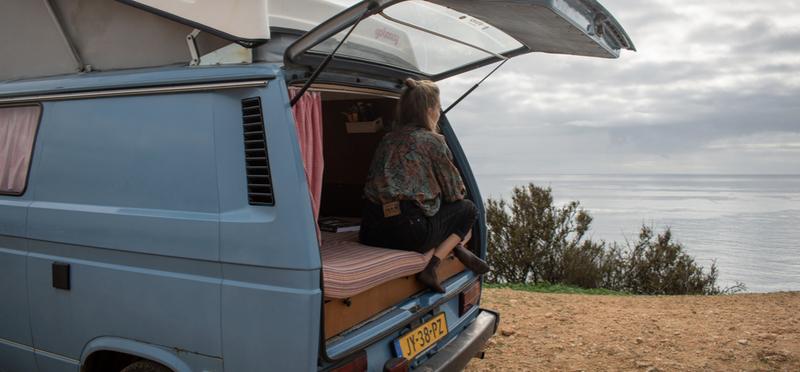Goboony Girl Woman Portugal H2 Campervan Driving Ocean