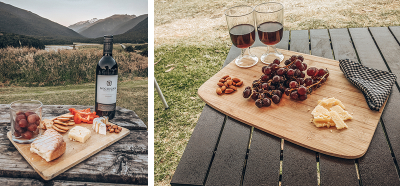 Goboony wine cheese plank H2 Glamping motorhome glamper