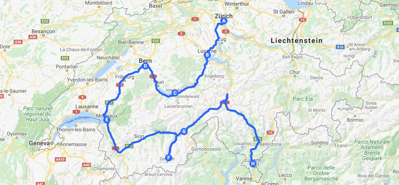 Goboony Zurich road trip map h2 route motorhome switzerland