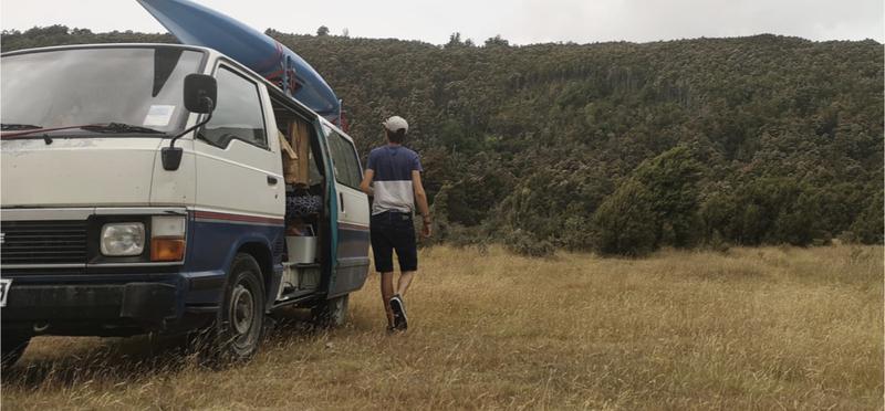 Goboony man surf campervan camper h2 travel road trip nature
