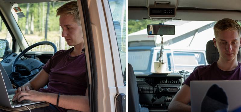 Goboony campervan working remote h2 digital nomad laptop VW