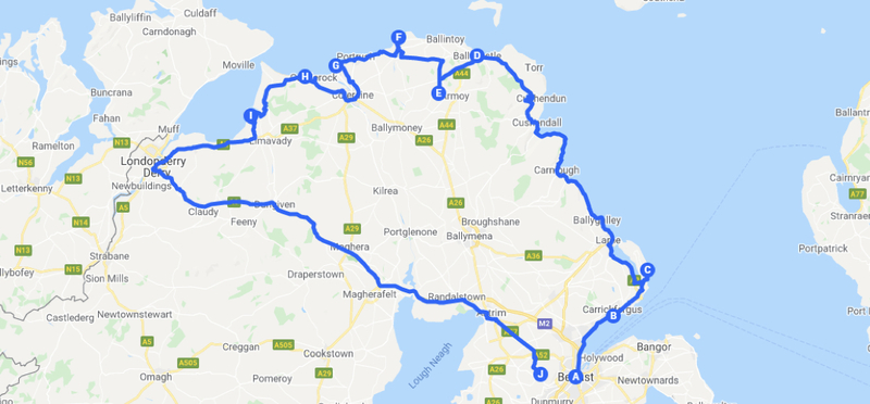 Goboony Route Northern Ireland Map H2 Driving Guide