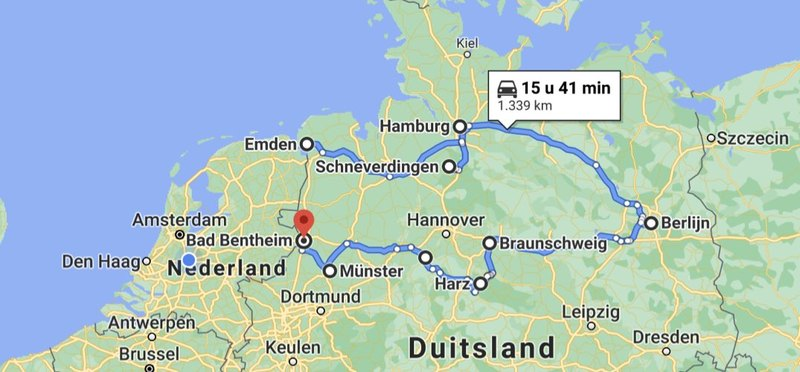 Goboony Camperroute Noord-Duitsland route