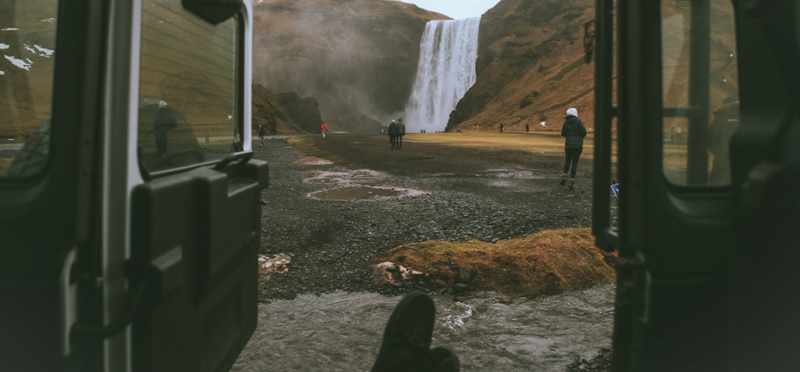 Goboony campervan iceland road trip route H2 waterfall