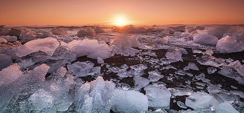 Goboony ice iceland road H2 trip route sunset