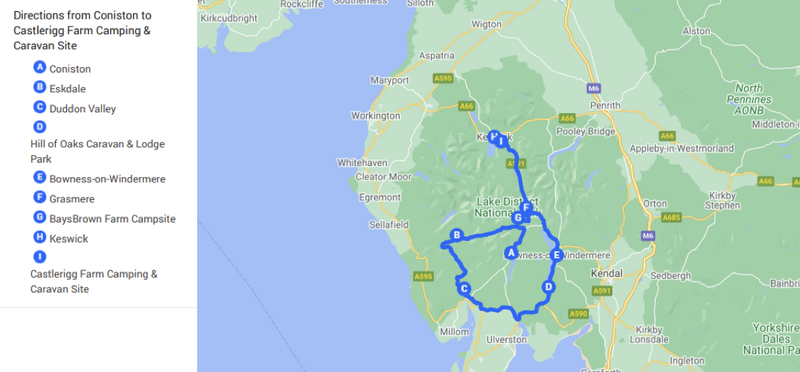 Goboony lake district route road trip h2 map