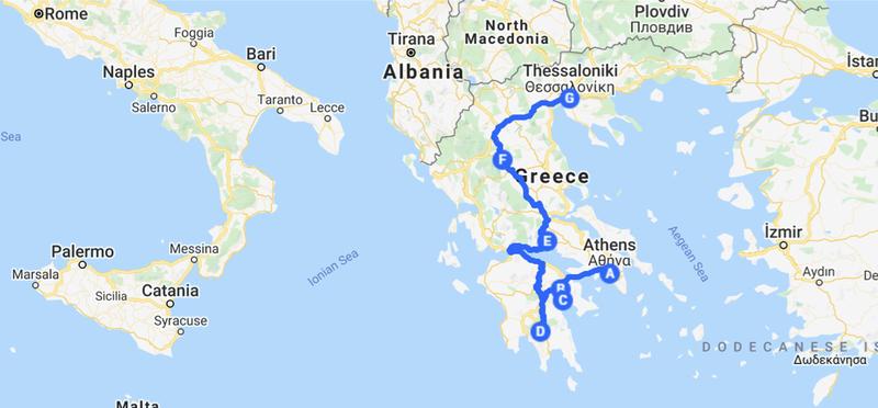 Goboony Map Route H2 Greece Road Trip Greek Motorhome Campervan