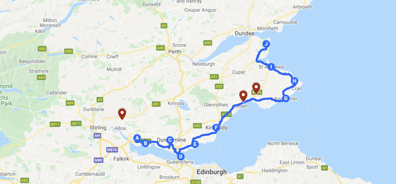 Goboony scottish road trip fife coastal h2 campervan motorhome map