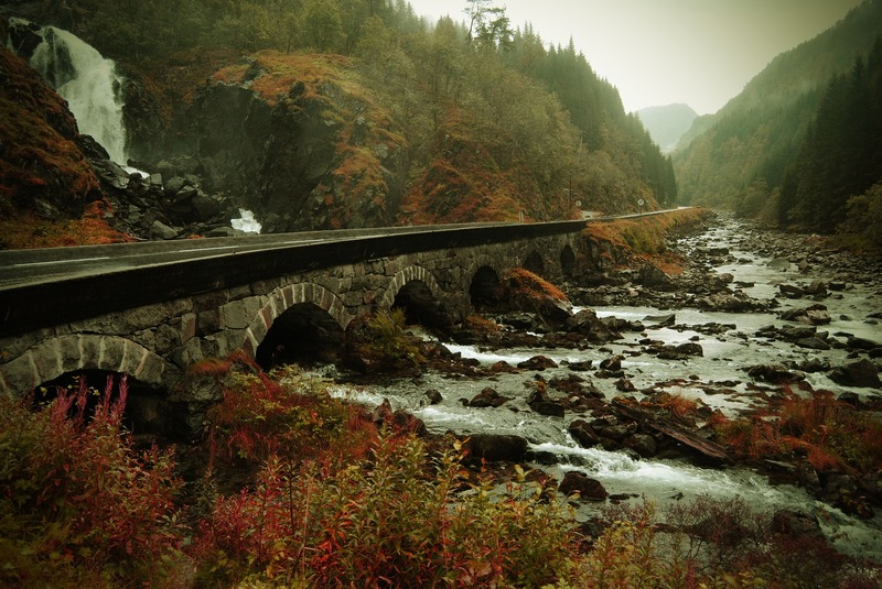 Norvegia ponte strada nella natura