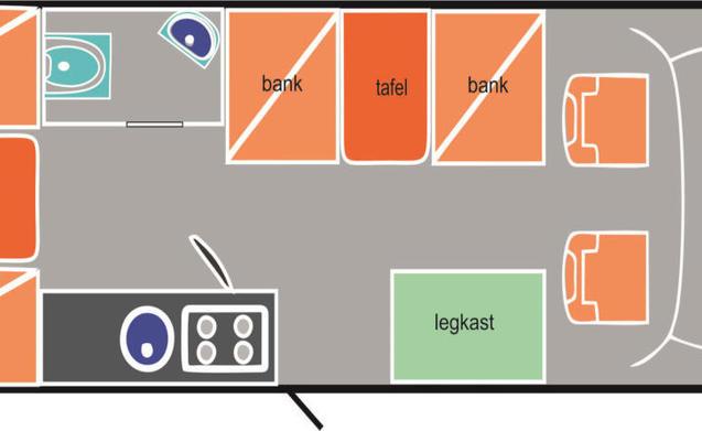 Camper 3 – Ruime 6 persoons camper met grote rondzit en dubbele bodem.