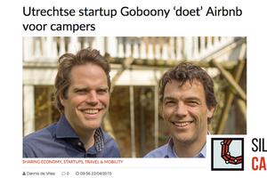"""In de media, Silicon Canals: """"Utrechtse startup Goboony 'doet' Airbnb voor campers"""""""