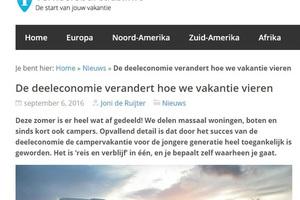 In de media, Verkeersbureaus.info: De deeleconomie verandert hoe we vakantie vieren
