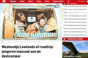 In de media, AD: 'Weekendje Lowlands of roadtrip: jongeren massaal aan de deelcamper'